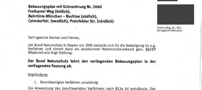 Bund Naturschutz Einwand – 151002