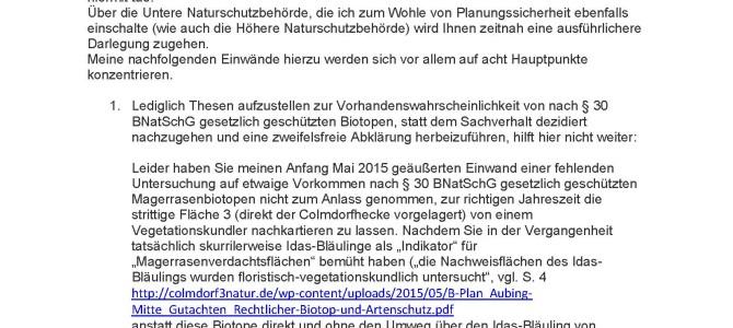 Remail vom 18.11.2015 – Re: Bebauungsplan Nr. 2060 Aubing Mitte…